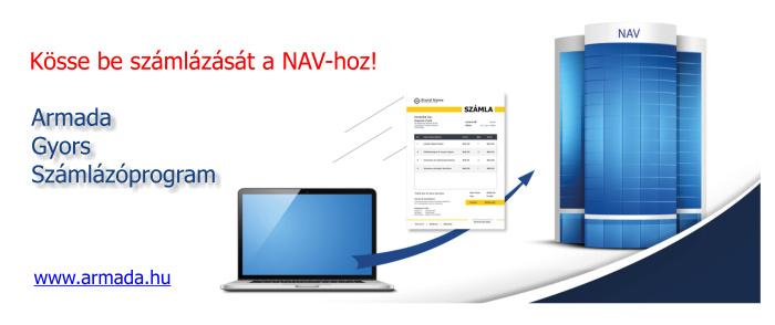 NAV online számla bekötés Armada Gyors Számlázóprogrammal